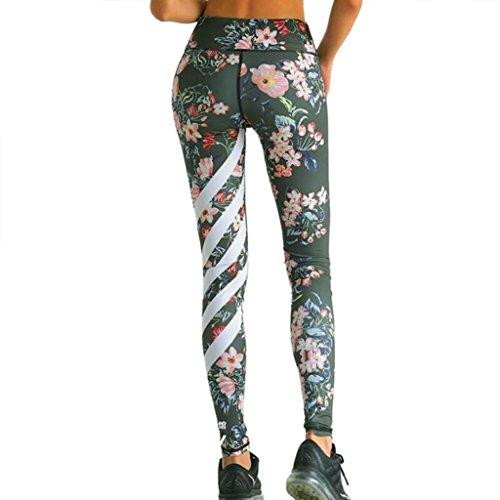 TWIFER Frauen Blumen Gedruckt Yoga Leggings Workout Gym Gamaschen Fitness Sport Striped Hosen (Armeegrün, M)