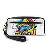 Pencil Case Pen Bag Pouch Stationary,Young Man Hip Hop Culture Graffiti Art And Street Culture Performer Colorful Grunge,Small Makeup Bag Coin Purse
