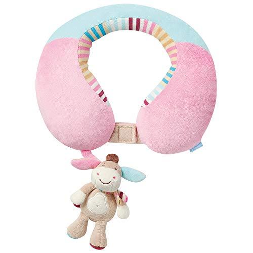 Fehn 081756 Nackenstütze Esel – Nackenkissen mit kleinem Rassel-Esel für Babys und Kleinkinder ab 6+ Monaten – Stützt und entlastet in Kinderwagen, Babyschale oder Auto