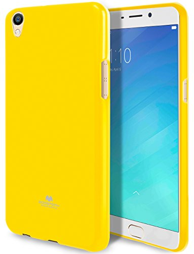 Goospery Marlang Marlang Oppo R9Plus Hülle, Gratis Bildschirmschutzfolie [Slim Fit] TPU Fall [Flexibel] Pearl Jelly [Schutz] Bumper Cover für Oppo R9Plus, Gelb