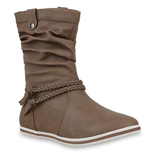 Bequeme Damen Stiefel Schlupfstiefel Lochungen Flache Boots Leder-Optik Metallic Schuhe 125751 Khaki Khaki 42 Flandell