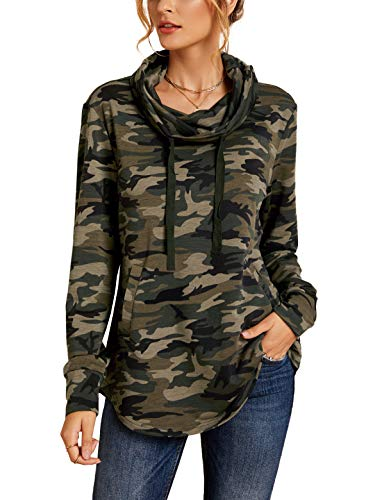 imesrun Womens Long Sleeve T-Shirts Lightweight Cowl Neck Casual Pullover Sweatshirts with Pockets Camo Small 4/6