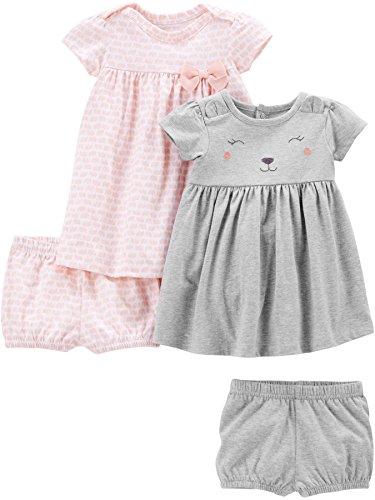 Simple Joys by Carter's Girls' 2-Pack Short-Sleeve and Sleeveless Dress Sets, Pink Elephants/Gray Bear, 18 Months