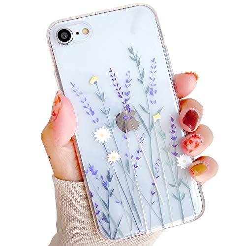 ZTUOK - Custodia compatibile con iPhone 7/8/SE 2020, per ragazze e donne, elegante, con motivo floreale e fiori in morbida gomma TPU trasparente per iPhone 7/8/SE 2020, colore: Viola