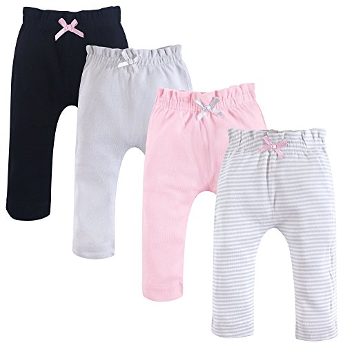 Touched by Nature Baby Organic Cotton Pants, Gray and Pink 4Pk, 0-3 Months (3M)