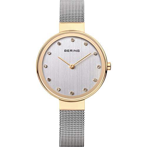 BERING Damen Analog Quarz Classic Collection Armbanduhr mit Edelstahl Armband und Saphirglas 12034-010