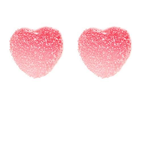JIMCHUU Gummy Candy Color Heart Shape S925Sterling Silver Stud Earrings (Red)