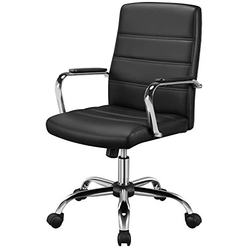 Yaheetech Bürostuhl Drehstuhl ergonomischer Schreibtischstuhl Bürodrehstuhl Chefsessel mit Armlehnen, Office Stuhl höhenverstellbar bis 130 kg Belastbar