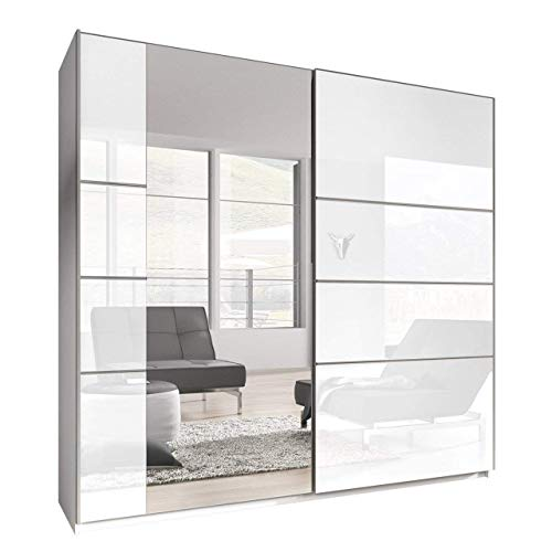 Mirjan24 Kleiderschrank Bora VI, Elegantes Schlafzimmerschrank, Schwebetürenschrank für Schlafzimmer, Jugendzimmer, Schiebetür (220 cm, Weiß/Weiß Hochglanz + Spiegel)