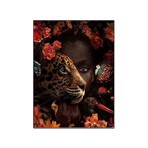 Posters African Abstract Woman Leopard Wall Decor Paintings Room Decor Home Decor Poster Decorative Painting Canvas Wall Art Living Room Posters Bedroom Painting 20×26inch(51×66cm)