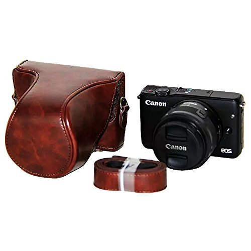 PU Leder Kameratasch Kamera-Taschen SLR-Taschen for Canon EOS-M10 with 15-45mm lens Kaffee dark braun