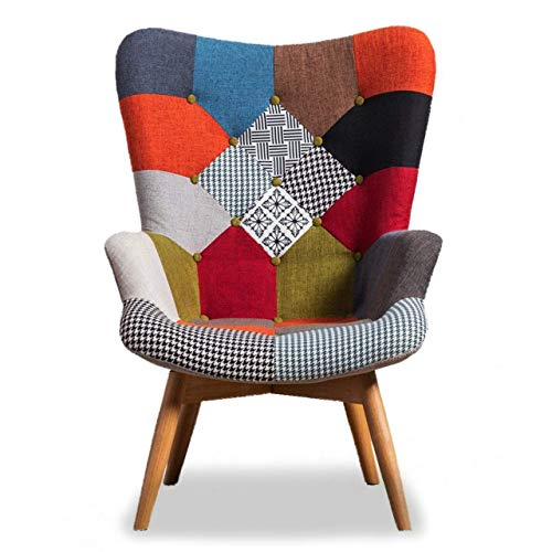 Life Interiors: Harper Patchwork Lounge Chair   Multi-colour Patchwork  ...
