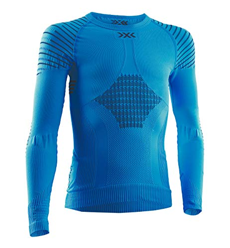 X-Bionic Invent 4.0 Round Neck Long Sleeves Strato Base Camicia Funzionale, Unisex bambini, Teal Blue/Anthracite, XL