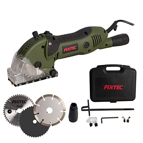 """Mini Circular Saw, Compact Electric Circular Saw with 3 Saw Blades 4A Pure Copper Motor, 3-3/8""""4000RPM, Scale Ruler, Ideal for Wood, Soft Metal, Tile and Plastic Cuts"""