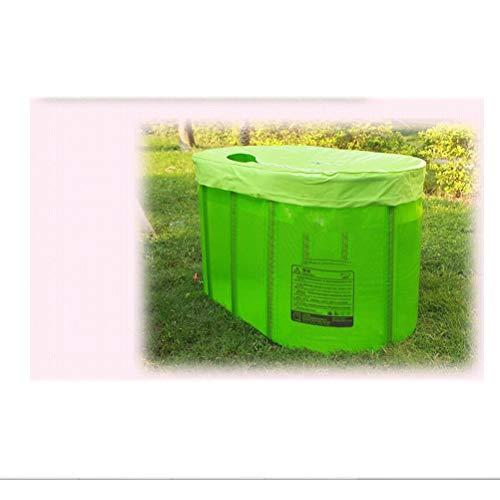 Große, nicht aufblasbare Doppelklappbare, tragbare Kunststoff-Badewanne für Erwachsene Badetonne Badefass Stehendes Duschbecken Whirlpool Baby-transparenter Swimmingpool ( Color : Green )