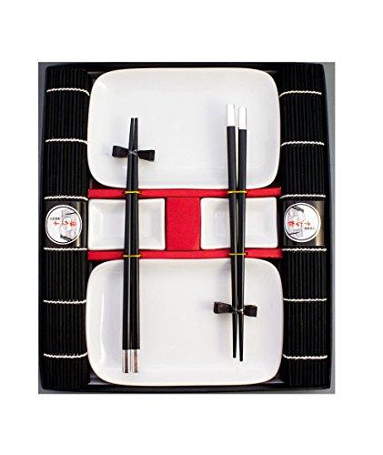 Pamai Pai® - Juego de vajilla para sushi (10 piezas, 2 personas), color negro