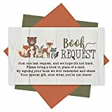 25 Books For Baby Shower Request Cards - Woodland Baby Shower Invitation Inserts, Book Request Baby Shower Guest Book Alternative, Bring A Book Instead Of A Card, Baby Shower Book Request