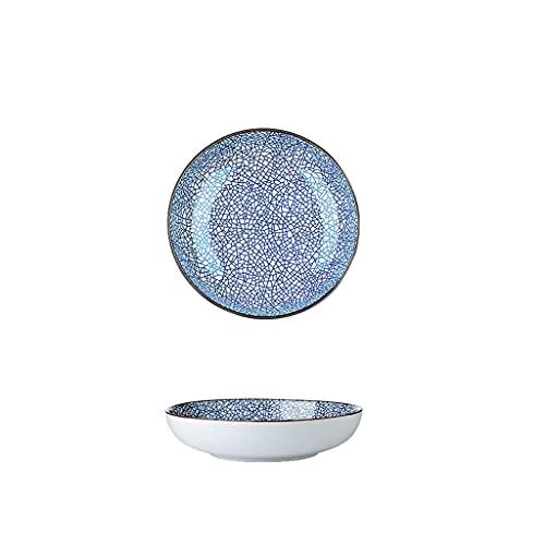 Platos de Postre 6.57 pulgadas de porcelana placas elegante raya raya patrón de cerámica Placas de servicio para ensalada de carne, pasta y postre Estilo japonés (azul) postres Vajilla para gastronomí