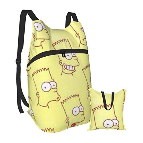 The Simpsons Cartoon Cute Folding Portable Backpack Lightweight Packable Backpacks Travel Hiking Daypack Water Resistant Camping Outdoor Foldable for Men Women Travel Hiking Waterproof Backpack