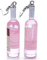MOONQING Kreativ vinflaska hänge örhängen boho söt stil tecknad hänge rolig akryl hänge örhängen rosa