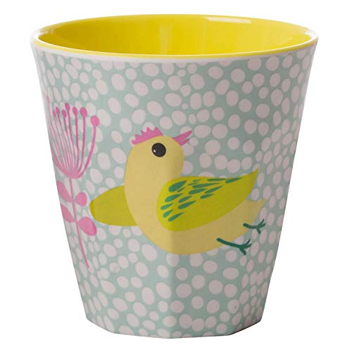 Overbeck and Friends Poppy Melamin Becher Vogel mint/gelb/rosa 250 ml - Kindergeschirr Trinkbecher Kunststoff spülmaschinenfest BPA frei