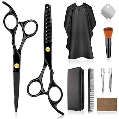 VANWALK Haarschere set, Professionelle Friseurscheren 2 Premium Scharfe haarschneideschere Home Haarschneide-Kit mit Haarschnittumhang für Männer, Frauen, Kinder (Schwarz-2)