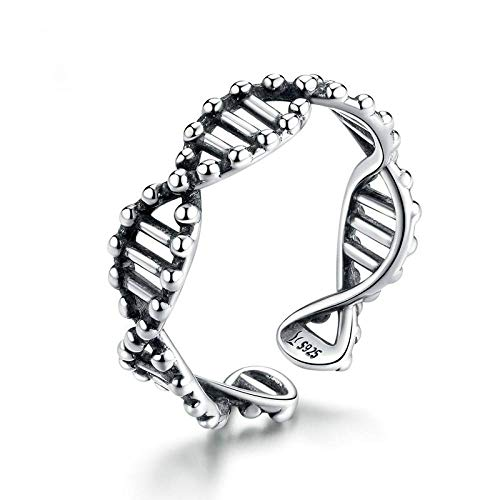 TYUJ Open Ring For Women,Adjustable Elegant Dna Gene Strand Ring Unisex 925 Sterling Silver Jewelry Gifts For Weddings Prom Birthday Anniversary Promise