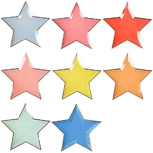 VenVont 16 Platos De Papel con Forma De Estrella, Platos De Papel Desechables con Pentagrama De 10 Pulgadas para Aperitivos, Frutas, Postres, Suministros para Fiestas K