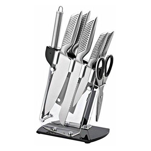 TiSSTER | Design Set de Couteaux avec Bloc en Acrylique | 8 pièces | Gourmet Set de Couteaux en Acier Couteau – Poignées en INOX de Haute qualité
