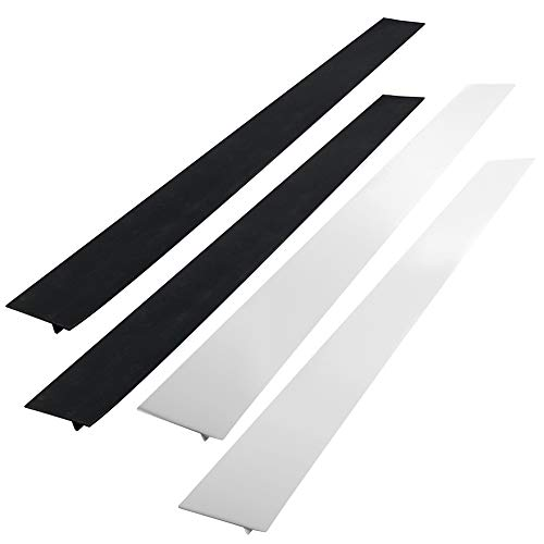 AIFUDA Set of 4 Kitchen Silicone Stove Counter Gap Cover, Long & Wide Gap Filler, Seals Spills Guard for Stovetop, Oven, Washer & Dryer, Heat-Resistant and Easy Clean (Black, white)