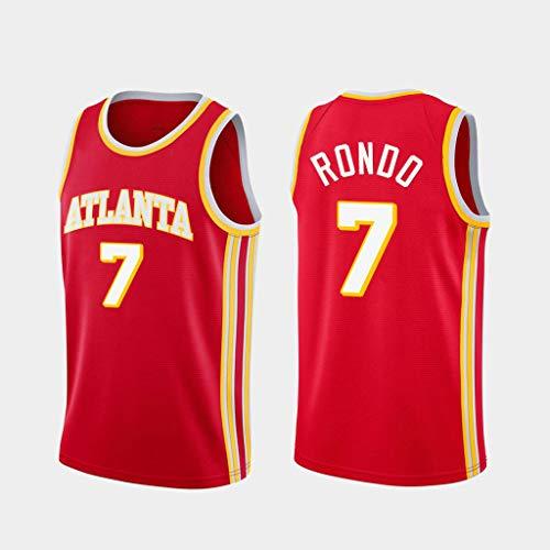 GLACX NBA Men's Jersey Atlanta Hawks 7# Rondo, (2 Estilo) Jersey Clásico, Nuevo Bordado Cómodo/Ligero/Transpirable Uniforme, Edición Swingman,A,XXL