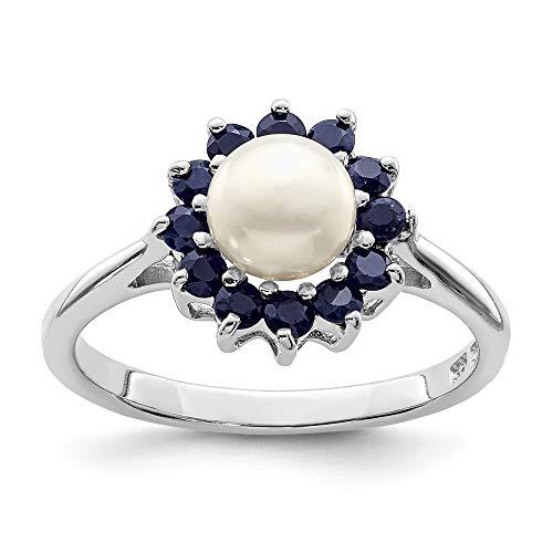 JewelryWeb Mujer 0.925 plata de ley redonda botón Perlas agua dulce Blue Sapphire