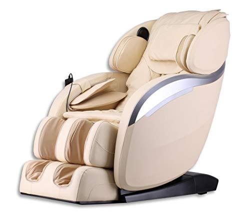 Luxus Massagesessel Deluxe V2 Zero Gravity Leder creme weiss/beige mit Rollentechnik Massage + Heizung + Armmassage Sessel für Wohnzimmer günstig weißer bequemer Fernsehsessel Ledersessel