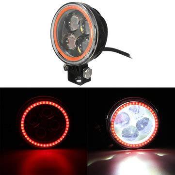 C-FUNN werklamp, rond, 9 V-30 V, 12 V, LED, met halo-engel-koplamp, RGB Angel Rood