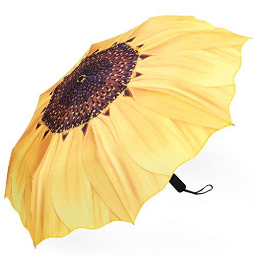 Plemo, Regenschirm, faltbar, kompakt, öffnet und schließt automatisch, Yellow Sunflower (Gelb) - UA_09