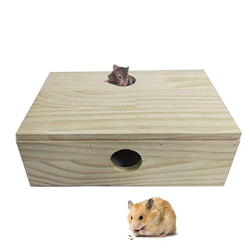 kathson Hamster Maze House Wooden Multi Room Hideouts Tunnel Exploring Toys for Hamsters, Gerbils, Small Rodents
