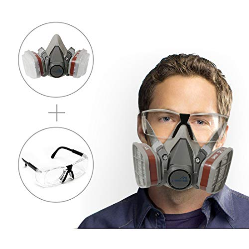Yinshome Respirator Mask(Plus Safety Glasses)-Gas Mask with Dual Filter Cartridges for Breathing Eye Protection Against Dust,Organic Vapors, Chemicals-Paint Respirator for DIY projects