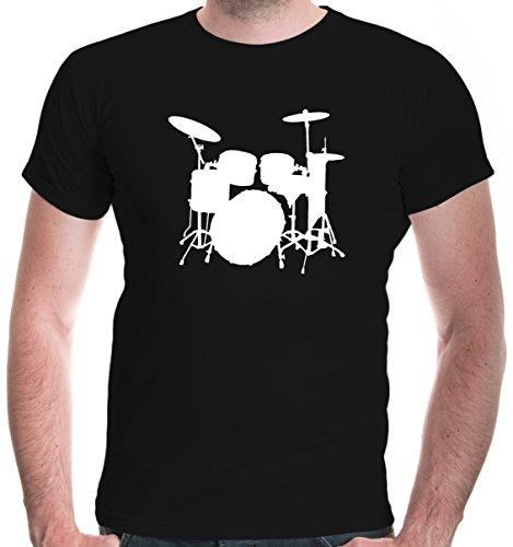 buXsbaum® Herren T-Shirt Schlagzeug | Schlagzeuger Drums Trommler Musik Instrument | L, Schwarz