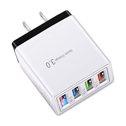 USB C Ladegerät Schnellladegerät, USB Adapter Steckdose, Netzstecker USB Quick Charge, USB Stecker, USB Ladegerät 3.5A Ladestecker USB 4 Ports Mit Intelligent Technologie USB Netzteil Kompatibel