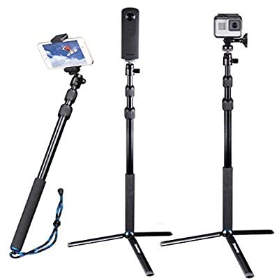 Smatree Telescoping Selfie Stick Compatible for GoPro Max/Hero 9/8/7/6/5/4/3+/3/Session/GOPRO Hero(2018)/Ricoh Theta S/V/Samsung Gear360/YI 4K by Smatree