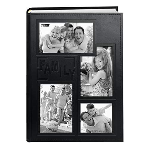 Pioneer Collage Marco en Relieve'Family' Cosido Cubierta de Piel sintético 300Bolsillo álbum de Fotos, Negro