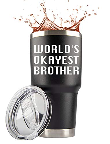 Best Brother Gifts | Large 30oz 'Worlds Okayest Brother' Steel Tumbler/Mug with Lid for Coffee/Cold Drinks | Best In Law Unique Funny Travel Cup by Jenvio (30 Ounce)