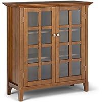 Simpli Home Acadian Solid Wood 39 in. Wide Light Golden Brown Rustic Medium Storage Cabinet