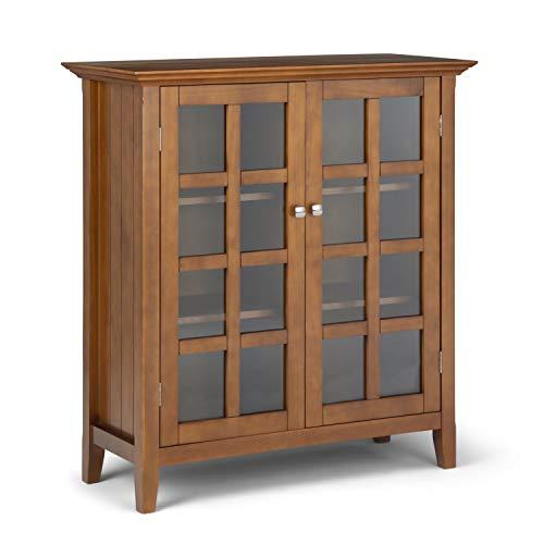 SIMPLIHOME Acadian SOLID WOOD 39 inch Wide Rustic Medium Storage Cabinet in Light Golden Brown, with 2 Tempered Glass Doors, 4 Adjustable Shelves