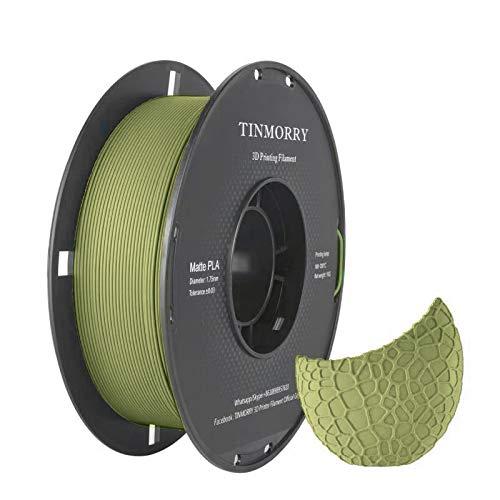 Matte PLA Filament 1.75 mm, TINMORRY 3D Drucker Filament, 1 KG 1 Spool, Matt Army Green