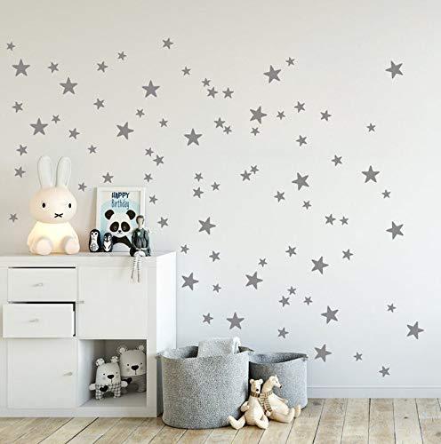 Lot de 90 stickers muraux en forme de mini étoiles - 2 à 4 cm - Doré/gris/doré
