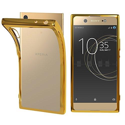 ebestStar - kompatibel mit Sony Xperia XA1 Hülle XA1/Dual (2017) Handyhülle [Ultra Dünn], Premium Durchsichtige Klar TPU Schutzhülle, Soft Flex Silikon, Transparent/Gold [Phone: 145x67x8mm, 5.0'']