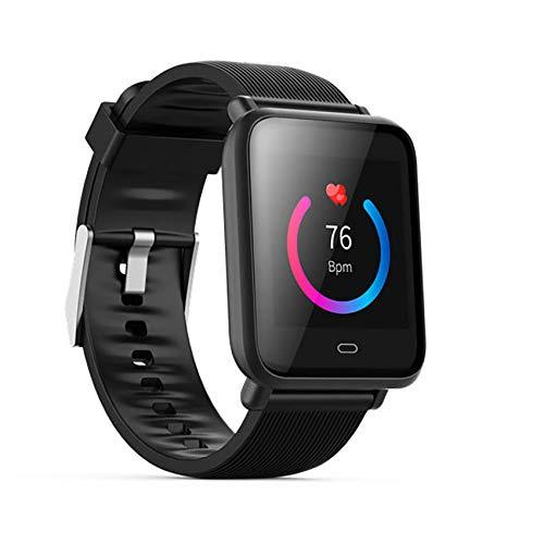 LEDM Reloj Inteligente, rastreador de Actividad de Pulsera Deportiva Impermeable Ip67, Reloj de Fitness con Monitor de presión Arterial y frecuencia cardíaca para Android/iOS,Negro