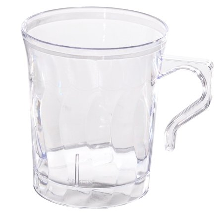 Pack de 16 elegantes tazas de café y té de plástico duro (220 ml) transparente