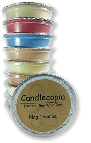 Candlecopia Nag Champa, Egyptian Amber, Dragons Blood, Sweet Patchouli and More! Strongly Scented Hand Poured Premium Natural Soy Wax Melt Cups, 12.5 Ounces in 10 x 1.25 Ounce Sealed Cups